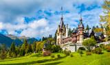 Peles castle Sinaia in autumn season, Transylvania, Romania protected by Unesco World Heritage Site - 122891582