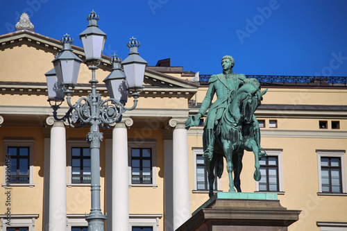 Plagát, Obraz The Royal Palace and statue of King Karl Johan XIV in Oslo, Norw