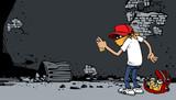 Cartoon graffiti artysta w pracy