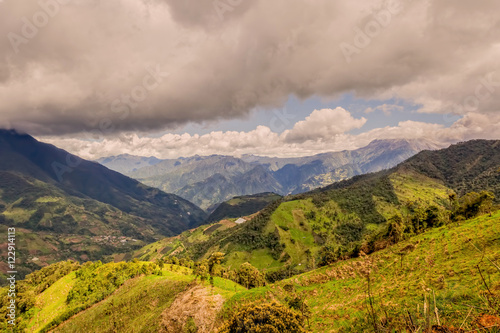 Poster Heuvel Andes Mountains In Rural Ecuador