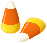 Vector illustration of two pieces of candy corn.