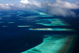 An aerial view of an atoll in Maldives