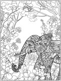 Coloring page with elephant in forest.