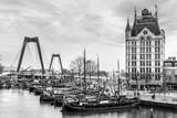 A view on the Oude Haven, Rotterdam, The Netherlands (March 2016) taken from the Overblaak (Kubuswoningen) in black and white