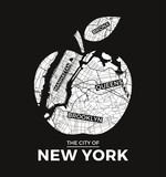 New York big apple t-shirt graphic design with city map. Tee shirt print, typography, label, badge, emblem. Vector illustration. - 122933331