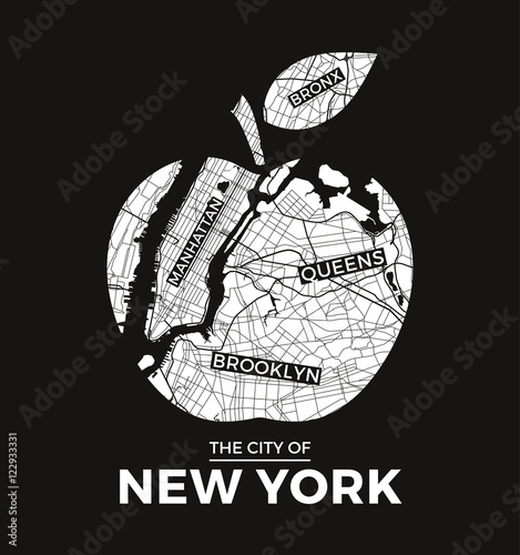 Naklejka New York big apple t-shirt graphic design with city map. Tee shirt print, typography, label, badge, emblem. Vector illustration.