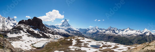 Poster Panorama view of Matterhorn peak in sunny day from gornergrat tr