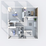 3d interior rendering plan view of furnished dental clinic
