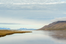 Peaceful landscape of river in the High Arctic, Svalbard