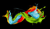 abstract color splashes on black background