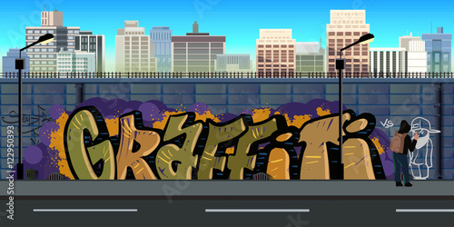 Foto Spatwand Graffiti Graffiti wall background, urban art