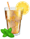Glass of ice tea with lemon, ice cubes and mint. Vector illustration.