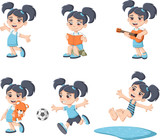 """Cute happy cartoon girl playing. Sports and toys. 122952579,Coockie icon. Bakery food daily and fresh theme. Icon set background. Vector illustration"""""""
