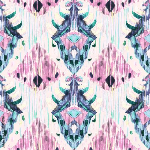 Ikat seamless bohemian ethnic pattern in watercolour style. - 122954746