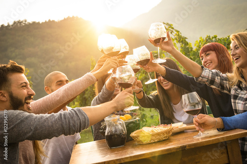 Happy friends having fun outdoors - Young people enjoying harvest time together at farmhouse vineyard countryside - Youth and friendship concept - Focus on hands toasting wine glasses with sun flare - 122956719