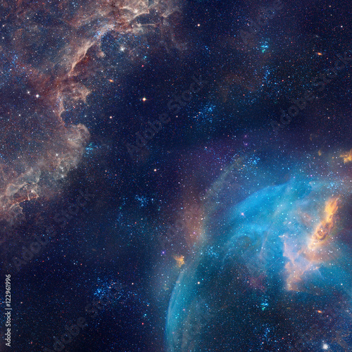 Galaxy illustration, space background with stars, nebula, cosmos clouds Poster
