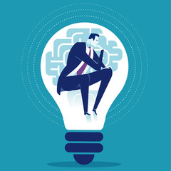 Creativity. Thinking manager sitting in the light bulb. Business concept vector illustration. © bizvector