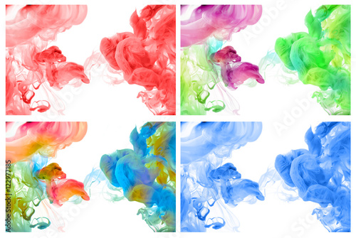 Aluminium Kleuren in het water Acrylic colors in water. Abstract background.