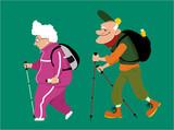 Cute cartoon senior couple hiking, EPS 8 vector illustration, no transparencies