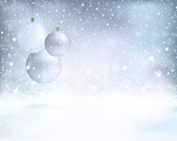 Fototapety Silver blue Christmas background with baubles and snowfall