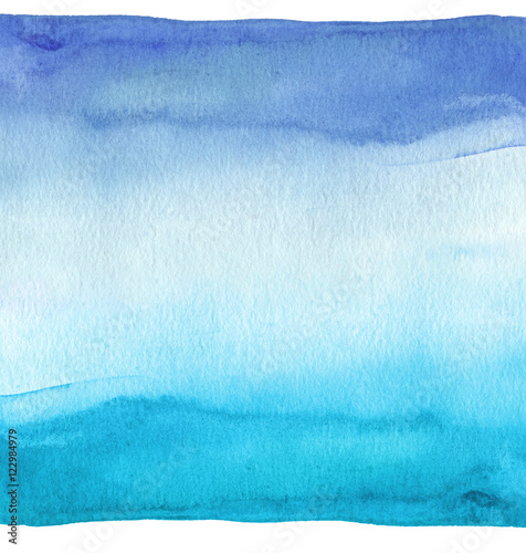 Abstract blue watercolor hand painted background. Textured paper - 122984979