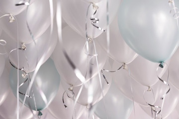 green and white balloons in the party,celebrate time.