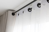 The white curtains with ring-top rail - 122990327