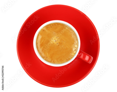 Poster One espresso coffee in red cup isolated on white