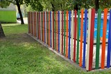 fence with colored slats