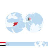 Syria on world globe with flag and regional map of Syria.
