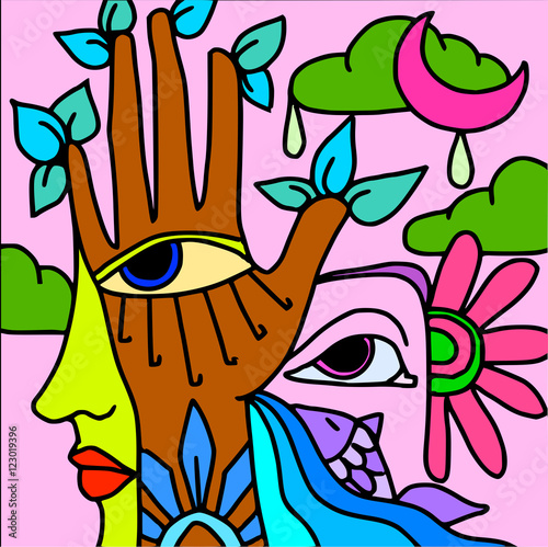 Tuinposter Klassieke abstractie hand and purple fish