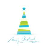 Modern stylized Christmas tree with handwritten Merry Christmas