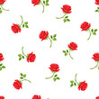 Vector seamless pattern with red rose flowers on a white background.
