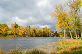 Autumn landscape in the Park with a lake
