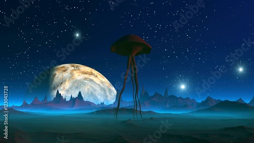 Extraterrestrial creature on an Alien Planet. Unearthly creature like a jellyfish with long tentacles squirming slowly flies over the surface.  In the night sky bright radiant stars, and huge planet. © tottot