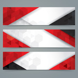 Fototapety White, red and black abstract background banner.