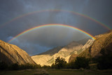 Double rainbow during a rain in the mountains, Tien-Shan