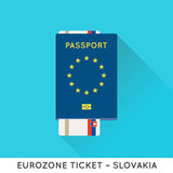 Eurozone Europe Passport with tickets vector illustration. Air T