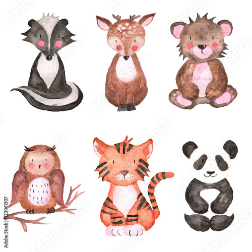 Woodland Animals Set of Watercolor Illustrations Hand-painted forest Cute baby