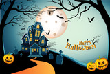 Haunted house halloween background with tree, bat, tomb, tombstone, spider, web, and cobweb at grave, graveyard. Happy halloween theme. Happy halloween greeting card. Vector illustration eps10