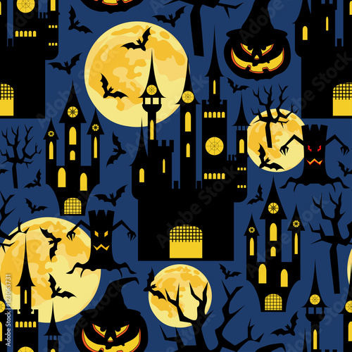 Cotton fabric Halloween background.Seamless vector pattern with moons,castles and pumpkin.Holiday background