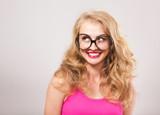 Funny girl in the oversized eyeglasses - 123068512
