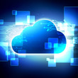 Cloud computing system on an abstract background