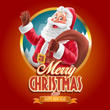 merry cheristmas with santa claus banner