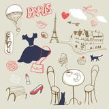 set of hand drawn symbols of Paris - 123081920