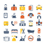 set of vector color icons for hotel service - 123081955
