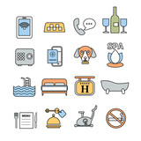 set of vector contour icons for hotel service - 123081972