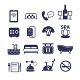 set of vector icons for hotel service - 123081993