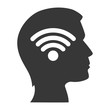 human head profile with wireless icon inside. silhouette vector illustration