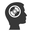 human head profile with cd icon inside. silhouette vector illustration